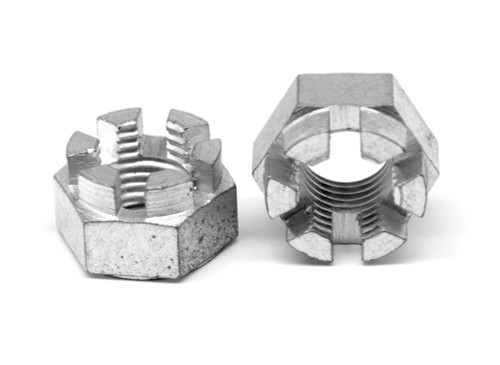 9/16-18 Fine Thread Grade 5 Hex Castle Nut Medium Carbon Steel Zinc Plated