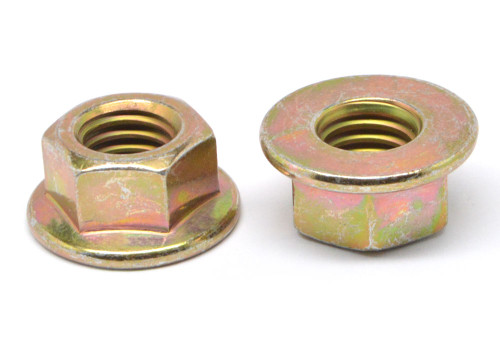 1/4-20 Coarse Thread Hex Flange Nut Case Hardened Low Carbon Steel Yellow Zinc Plated