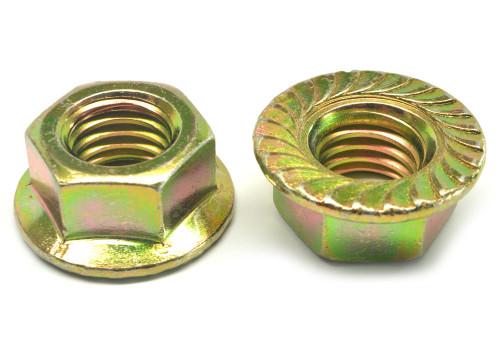 9/16-12 Coarse Thread Grade 8 Hex Flange Nut with Serration Medium Carbon Steel Yellow Zinc Plated