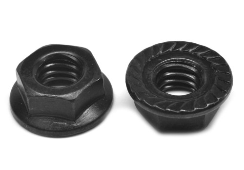 #6-32 Coarse Thread Hex Flange Nut with Serration Case Hardened Low Carbon Steel Black Oxide