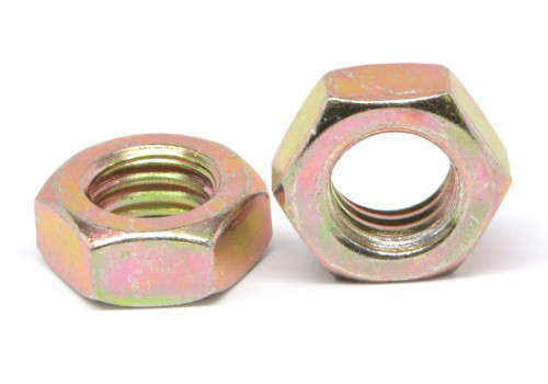 1/4-20 Coarse Thread Hex Jam Nut Low Carbon Steel Yellow Zinc Plated
