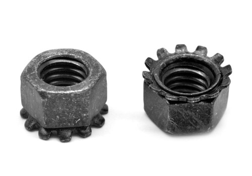 #10-24 Coarse Thread KEPS Nut / Star Nut with External Tooth Lockwasher Low Carbon Steel Black Zinc Plated