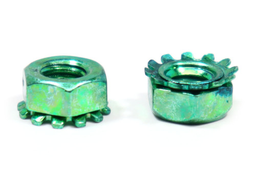 1/4-20 Coarse Thread KEPS Nut / Star Nut with External Tooth Lockwasher Low Carbon Steel Green Zinc Plated