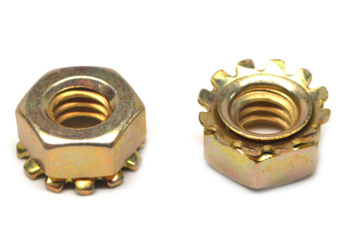 #8-32 x 5/16 Coarse Thread KEPS Nut / Star Nut with External Tooth Lockwasher Small Pattern Low Carbon Steel Yellow Zinc Plated