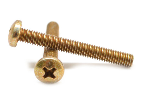 #10-32 x 1/2 Fine Thread Machine Screw Phillips Pan Head Low Carbon Steel Yellow Zinc Plated