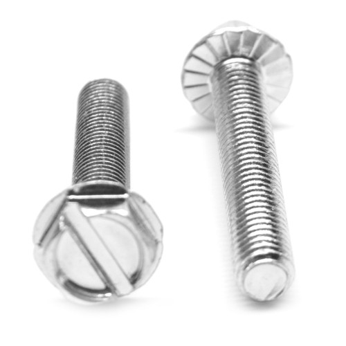 #6-32 x 3/4 Coarse Thread Machine Screw Slotted Hex Washer Head with Serration Low Carbon Steel Zinc Plated