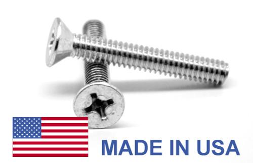 #0-80 x 1/8 Fine Thread MS24693 Machine Screw Phillips Flat Head 100 Degree - USA Low Carbon Steel Cadmium Plated