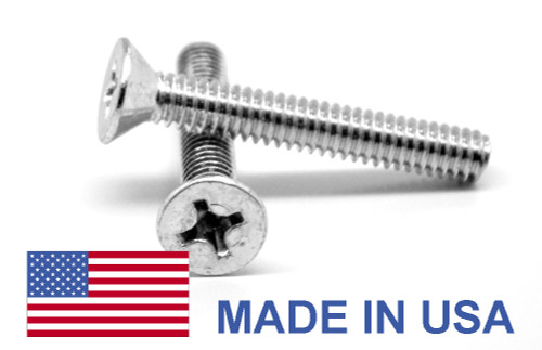 #10-32 x 1 Fine Thread MS24693 Machine Screw Phillips Flat Head 100 Degree - USA Low Carbon Steel Cadmium Plated
