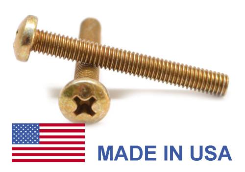 #2-56 x 1/4 Coarse Thread MS35206 Machine Screw Phillips Pan Head - USA Low Carbon Steel Yellow Cadmium Plated