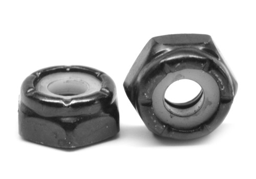 #10-24 Coarse Thread Nyloc (Nylon Insert Locknut) NTM Thin Low Carbon Steel Black Zinc Plated