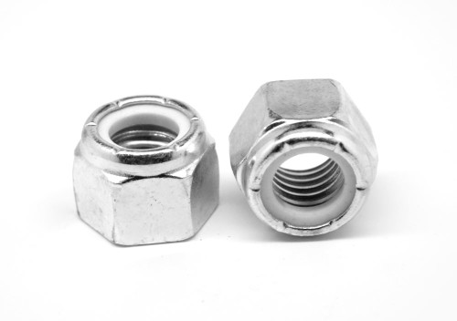 3/8-16 Coarse Thread Nyloc (Nylon Insert Locknut) with Flange Low Carbon Steel Zinc Plated