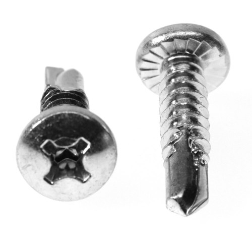 #10-16 x 3/4 Self Drilling Screw Phillips Pan Head with Serration #3 Point Low Carbon Steel Zinc Plated