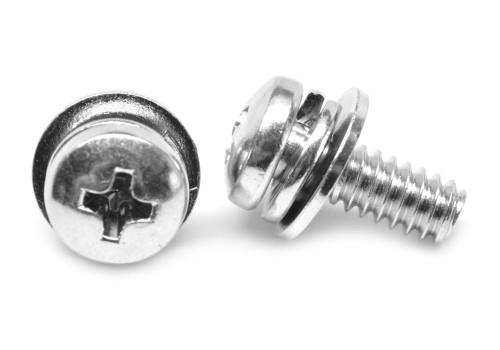 #6-32 x 5/16 Coarse Thread Machine Screw SEMS Phillips Pan Head Split Lockwasher Narrow Flat Washer Low Carbon Steel Zinc Plated
