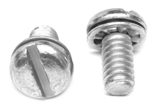 #8-32 x 7/8 Coarse Thread Machine Screw SEMS Slotted Pan Head Internal Tooth Lockwasher Low Carbon Steel Zinc Plated