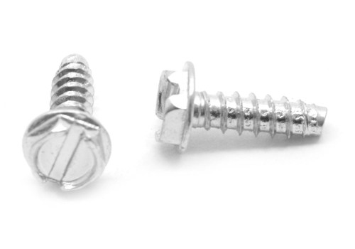 #4-24 x 5/16 Sheet Metal Screw Slotted Hex Washer Head Type B Low Carbon Steel Zinc Plated