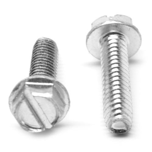 #10-32 x 1 1/4 Fine Thread Taptite®-Alternative Thread Rolling Screw Slotted Hex Washer Head Low Carbon Steel Zinc Plated/Wax