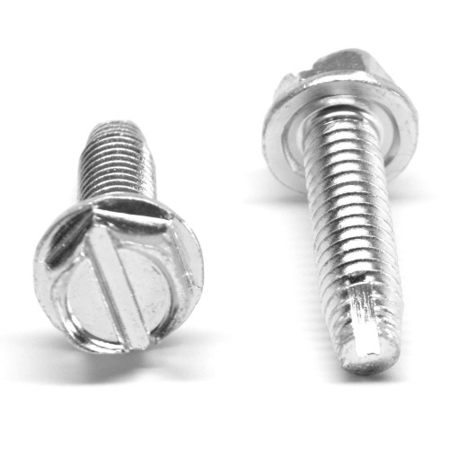 #12-24 x 1 Coarse Thread Thread Cutting Screw Slotted Hex Washer Head Type 1 Low Carbon Steel Zinc Plated