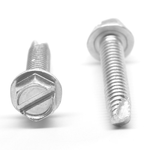 #10-32 x 1 1/4 Fine Thread Thread Cutting Screw Slotted Hex Washer Head Type 23 Low Carbon Steel Zinc Plated
