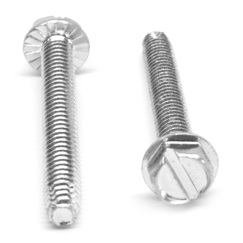 #10-32 x 1 1/4 Fine Thread Thread Cutting Screw Slotted Hex Washer Head with Serration Type F Low Carbon Steel Zinc Plated