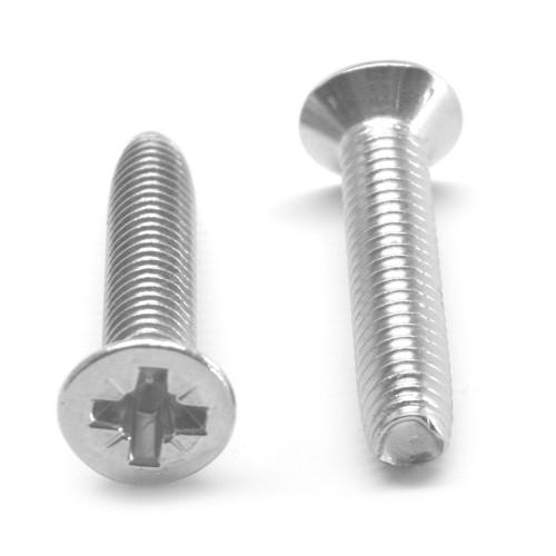 M6 x 1.00 x 12 Coarse Thread Thread Rolling Screw Pozidriv (Type Z) Flat Head Stainless Steel 18-8 Wax