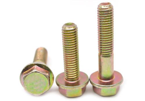 M20x2.50x70 MM Coarse Thread SAE J1199 Class 10.9 Hex Flange Screw Alloy Steel Yellow Zinc Plated