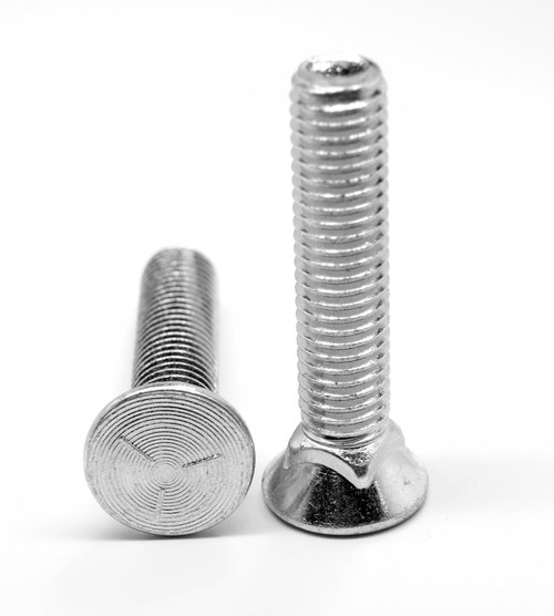 3/8-16 x 2 Coarse Thread Grade 8 Plow Bolt #3 Flat Head Medium Carbon Steel Zinc Plated