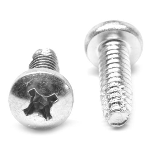 "#8-32 x 1/2"" (FT) Coarse Thread Thread Cutting Screw Phillips Pan Head Type F Low Carbon Steel Zinc Plated"