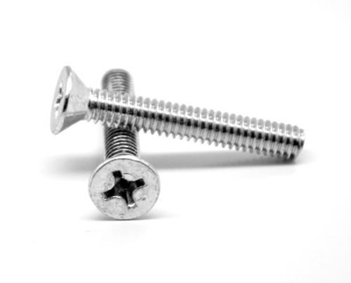"#10-32 x 2"" (FT) Fine Thread Machine Screw Phillips Flat Head Stainless Steel 316"