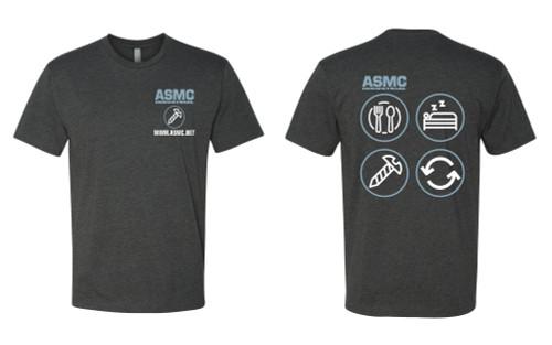 ASMC Eat Sleep Repeat Tee Charcoal Gray Size M