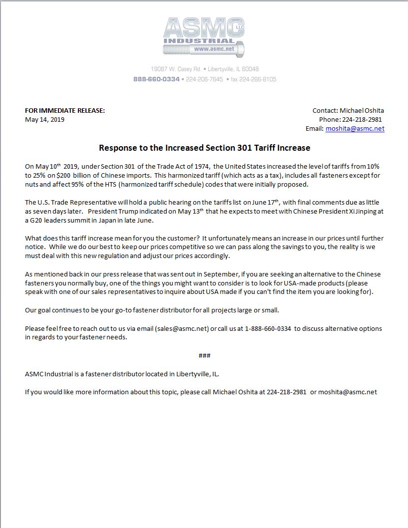 ASMC Industrial Press Release: