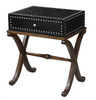 Black Faux Leather Home Accent Table