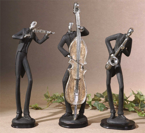 3 Musician Figurines playing their instruments.