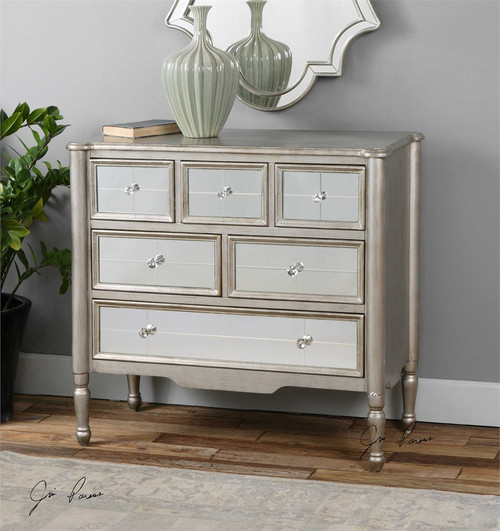 Rayvon, Home Accent Chest with Mirrored Panels