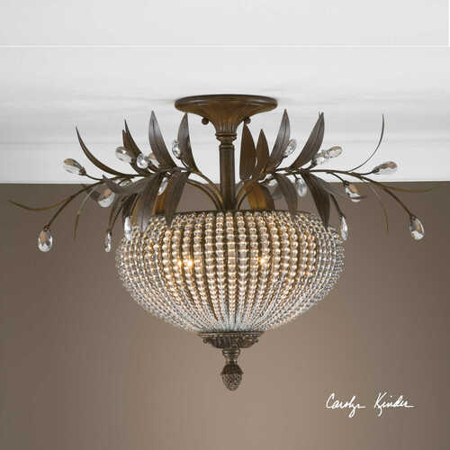 Cristal de Lisbon, 3 Lt. Semi Flush Ceiling Mounted Chandelier