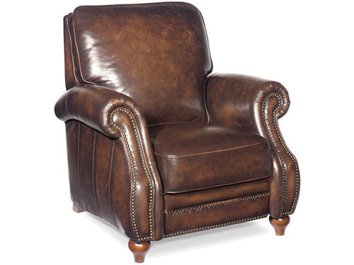 Leather Recliner with Coil Cushions and Bombay shaping in the arms.