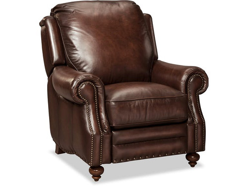 Craftmaster Leather Recliner with nail head trim accents