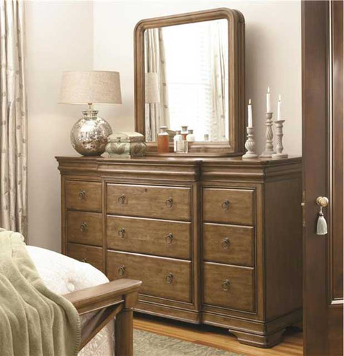Universal Furniture's New Lou Collection 12 Drawer Dresser with Mirror at Marty Rae's of Orangeburg