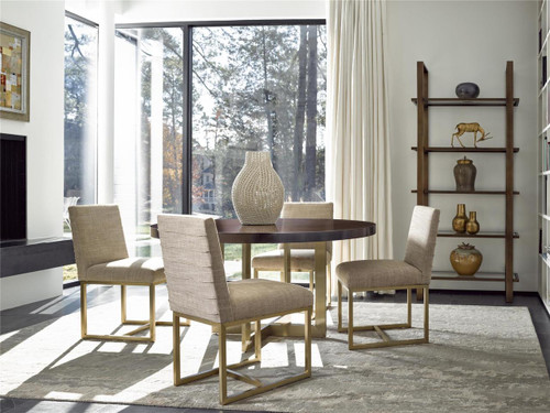 Universal Furniture's Gibson Round Dining Table Chair with Copper Side Chair