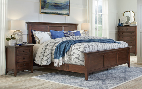 Modern Queen Bed with Shaker Influence.  Excellent solution for smaller rooms.