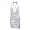 Show My Body Drape Neck Sequin Dress Silver