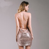 Show My Body Drape Neck Sequin Dress