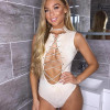High Neck Corset Suede Bodysuit Lace Up Cut Out Sexy Bodysuits Rompers Women Jumpsuits Body Feminino Playsuits