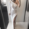 2018 New Knitting Long Dress Women One Shoulder Maxi Dress Sexy Hollow Out High Split Club Party Dresses Sweater Vestido