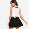 Elegant Party Dress Contrast Lace Tied Neck Fitted and Flared Dress Black and White Sleeveless Halter A Line Dress