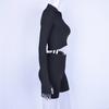 Long sleeve zipper high neck elastic sexy crop tops shorts 2-pieces 2018 summer autumn women fashion casual sports sets