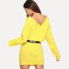 2 Piece Set Women Clothes Letter Print V Neck Top & Skinny Skirt Set Yellow Two Piece Set 2018 Autumn Women Sets
