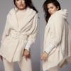Autumn Winter Suit Long Sleeve Loose Coat +Shorts Suit Woman Oversize Cardigan+Drawstring Shorts 2 Piece Set
