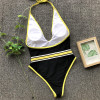 Deep v-neck swimsuit fused Halter brazilian bikini High cut swimwear women Thong bathers Push up bodysuits one-piece