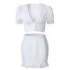 2 Piece Set Women Summer White Cotton Sets 2019 Sexy Low Cut Short Sleeve Crop Top Zipper Fly Mini Bodycon Skirt