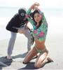 Long Sleeve Beachwear Bikini Set Bohemian Style Print Two Piece Set Sexy Backless 2 Piece Set Women Bathing Swimwear New